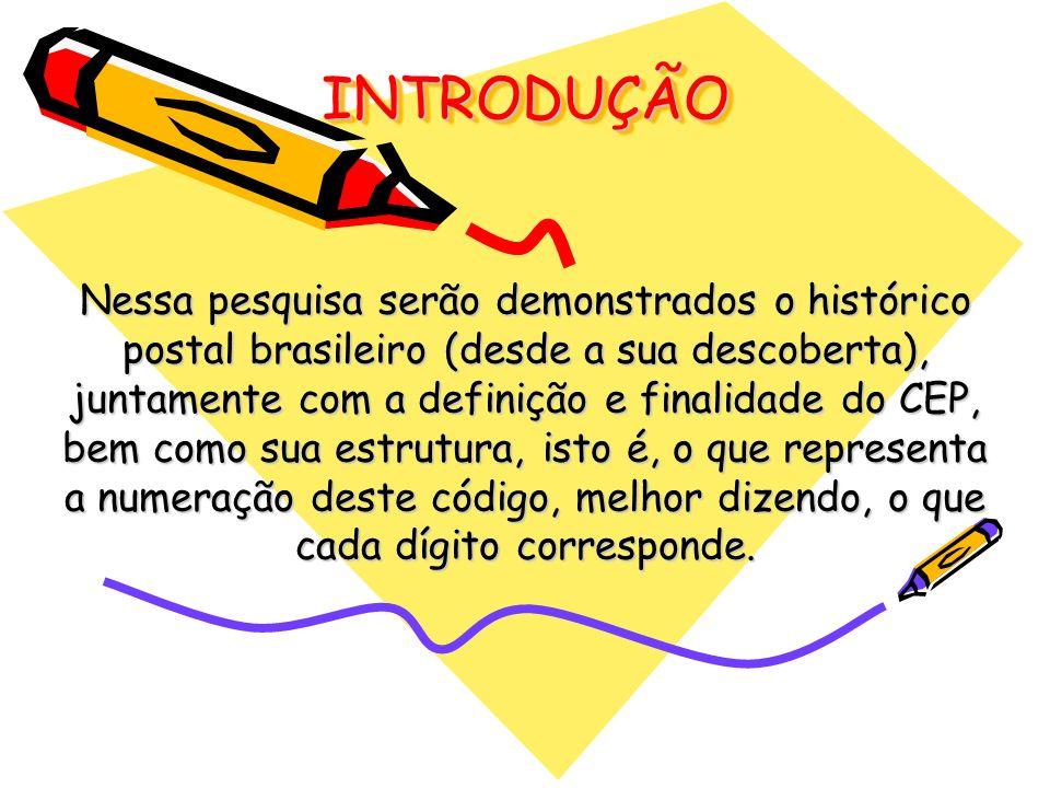 INTRODUÇÃOINTRODUÇÃO Nessa pesquisa serão demonstrados o histórico postal brasileiro (desde a sua descoberta), juntamente com a definição e finalidade