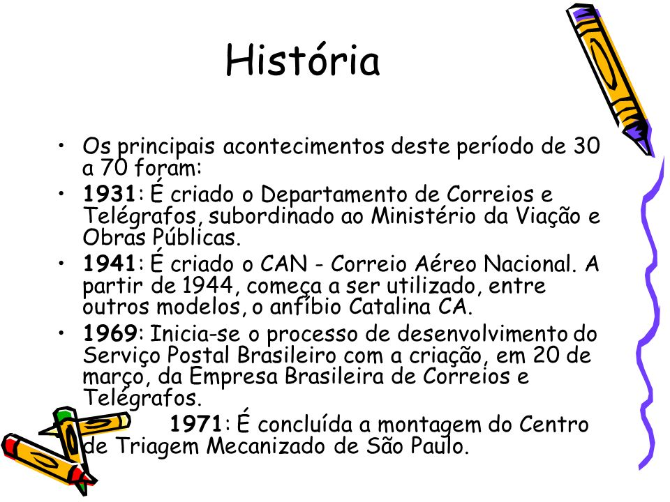 História Os principais acontecimentos deste período de 30 a 70 foram: 1931: É criado o Departamento de Correios e Telégrafos, subordinado ao Ministéri