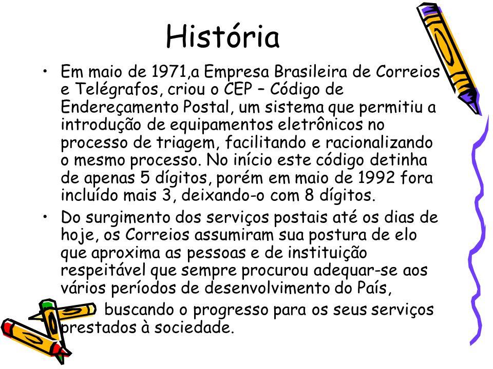 História Em maio de 1971,a Empresa Brasileira de Correios e Telégrafos, criou o CEP – Código de Endereçamento Postal, um sistema que permitiu a introd