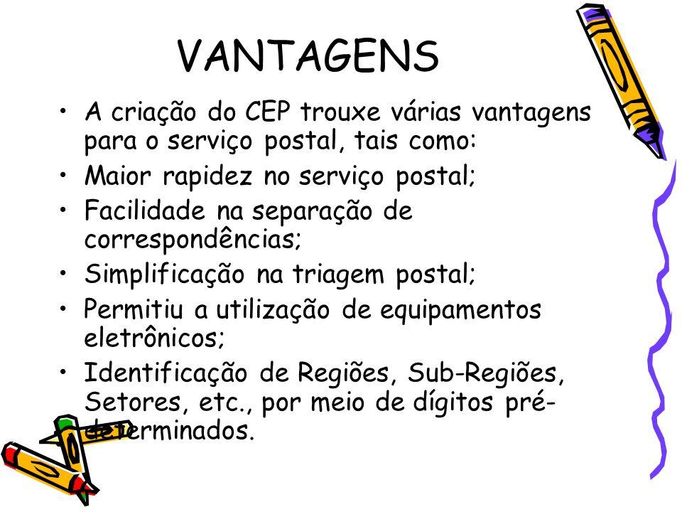 VANTAGENS A criação do CEP trouxe várias vantagens para o serviço postal, tais como: Maior rapidez no serviço postal; Facilidade na separação de corre