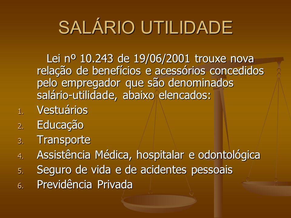 SALÁRIO UTILIDADE Lei nº 10.243 de 19/06/2001 trouxe nova relação de benefícios e acessórios concedidos pelo empregador que são denominados salário-ut