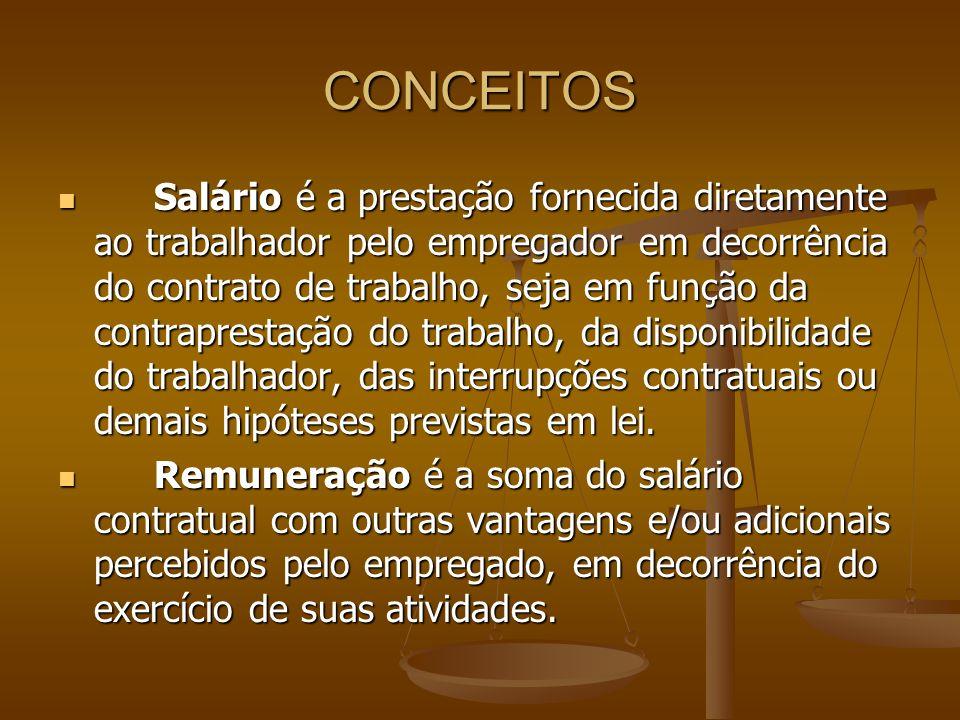 CONCEITOS Salário é a prestação fornecida diretamente ao trabalhador pelo empregador em decorrência do contrato de trabalho, seja em função da contrap