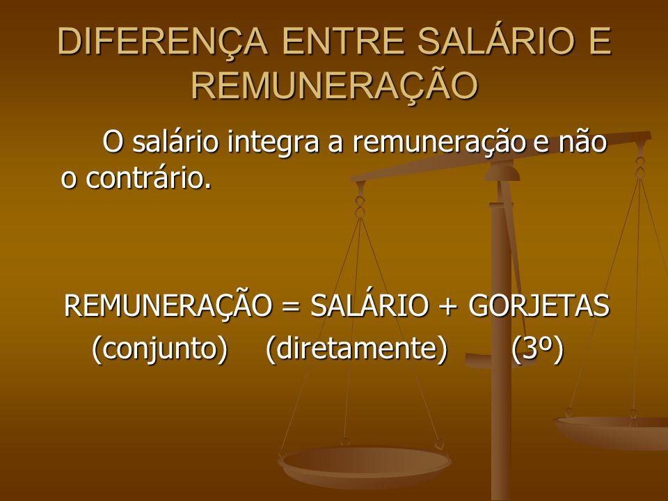 DIFERENÇA ENTRE SALÁRIO E REMUNERAÇÃO O salário integra a remuneração e não o contrário. REMUNERAÇÃO = SALÁRIO + GORJETAS REMUNERAÇÃO = SALÁRIO + GORJ