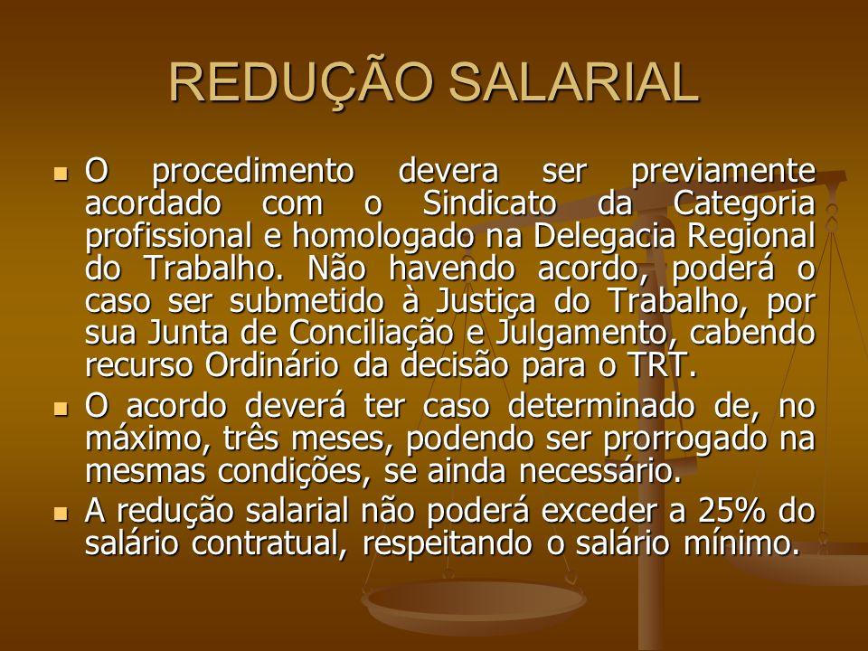 REDUÇÃO SALARIAL O procedimento devera ser previamente acordado com o Sindicato da Categoria profissional e homologado na Delegacia Regional do Trabal
