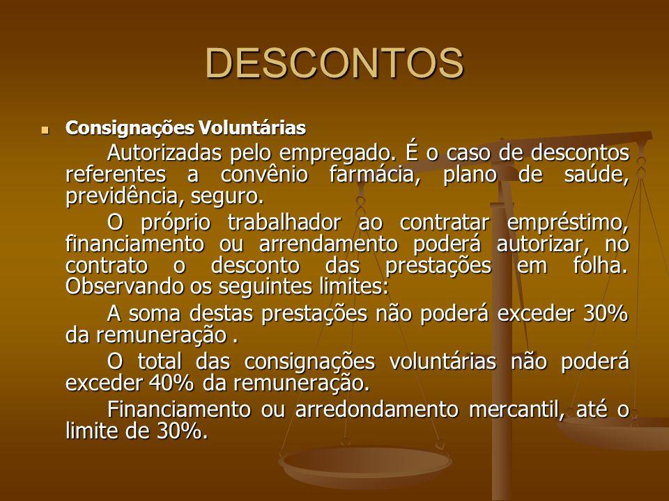 DESCONTOS Consignações Voluntárias Consignações Voluntárias Autorizadas pelo empregado. É o caso de descontos referentes a convênio farmácia, plano de