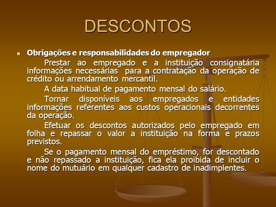 DESCONTOS Obrigações e responsabilidades do empregador Obrigações e responsabilidades do empregador Prestar ao empregado e a instituição consignatária