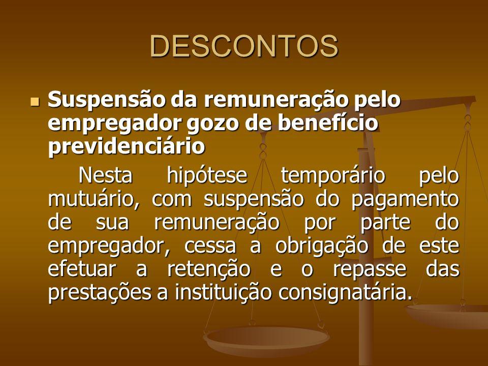 DESCONTOS Suspensão da remuneração pelo empregador gozo de benefício previdenciário Suspensão da remuneração pelo empregador gozo de benefício previde