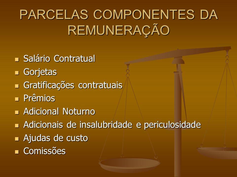 PARCELAS COMPONENTES DA REMUNERAÇÃO Salário Contratual Salário Contratual Gorjetas Gorjetas Gratificações contratuais Gratificações contratuais Prêmio