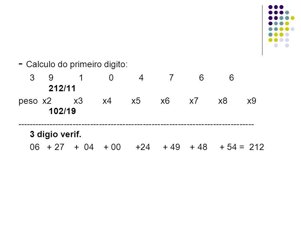 - Calculo do primeiro digito: 39104766 212/11 peso x2 x3 x4 x5 x6 x7 x8 x9 102/19 --------------------------------------------------------------------