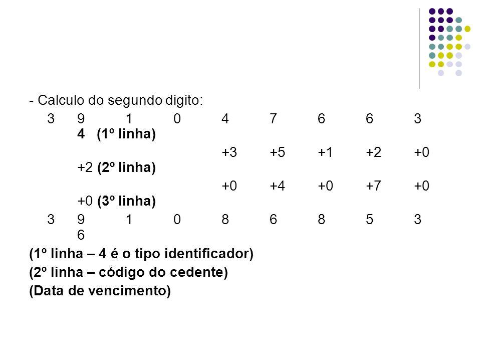 - Calculo do segundo digito: 391047663 4 (1º linha) +3+5+1+2+0 +2 (2º linha) +0+4+0+7+0 +0 (3º linha) 391086853 6 (1º linha – 4 é o tipo identificador