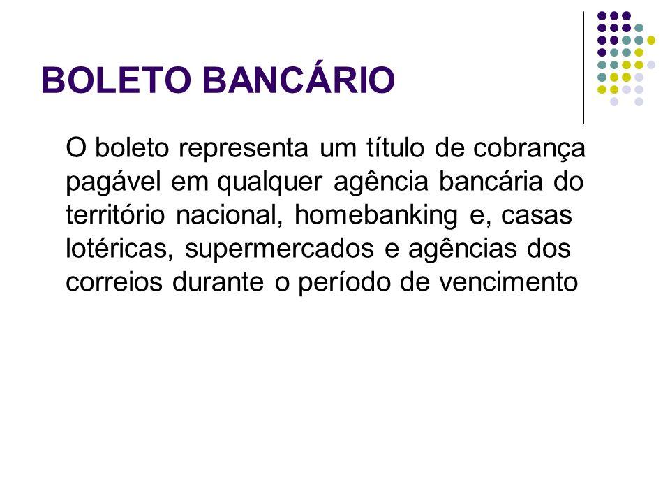 BOLETO BANCÁRIO O boleto representa um título de cobrança pagável em qualquer agência bancária do território nacional, homebanking e, casas lotéricas,