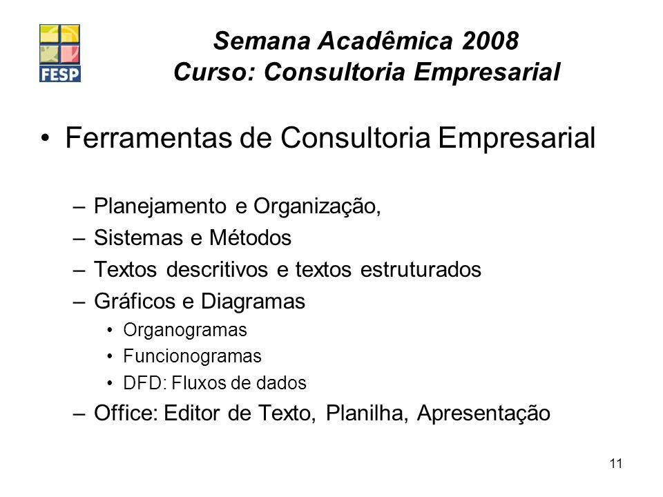 Semana Acadêmica 2008 Curso: Consultoria Empresarial 11 Ferramentas de Consultoria Empresarial –Planejamento e Organização, –Sistemas e Métodos –Texto