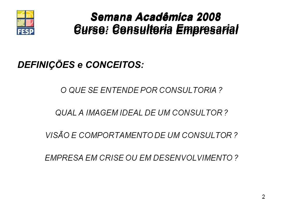 Semana Acadêmica 2008 Curso: Consultoria Empresarial 2 DEFINIÇÕES e CONCEITOS: O QUE SE ENTENDE POR CONSULTORIA ? QUAL A IMAGEM IDEAL DE UM CONSULTOR