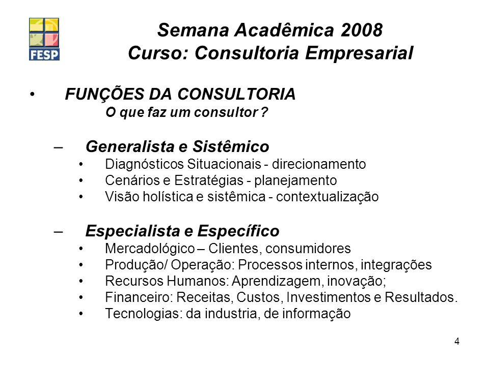 Semana Acadêmica 2008 Curso: Consultoria Empresarial 4 FUNÇÕES DA CONSULTORIA O que faz um consultor ? –Generalista e Sistêmico Diagnósticos Situacion