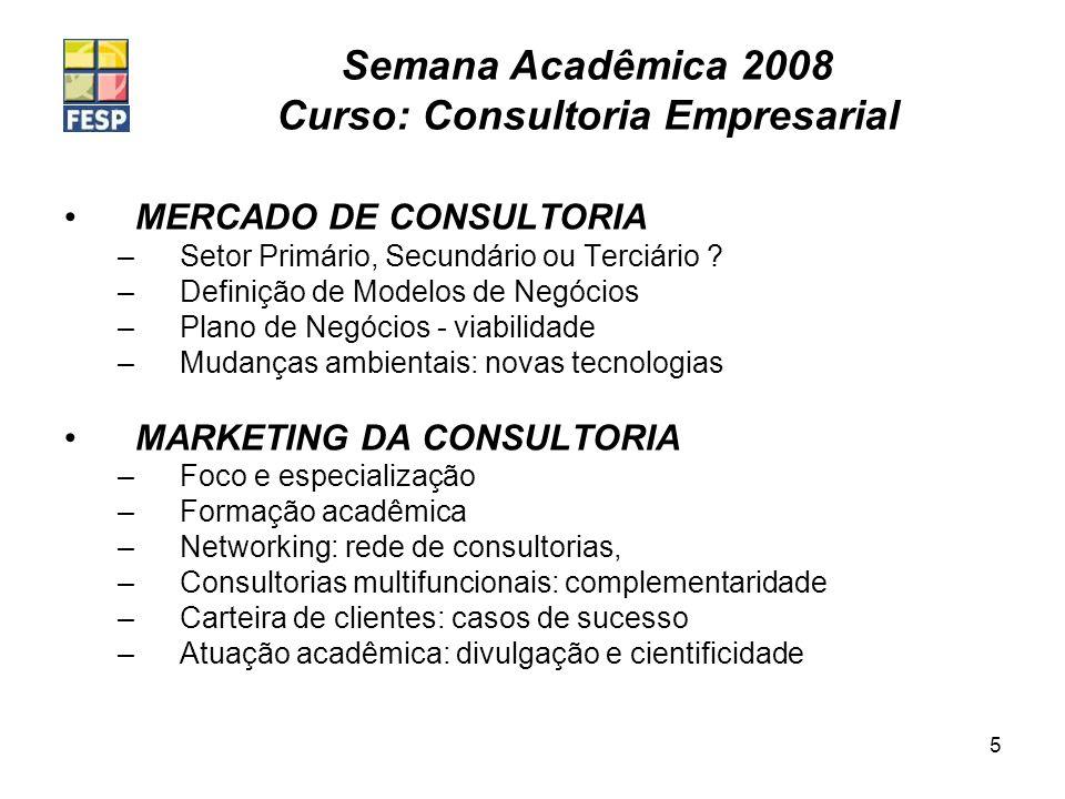 Semana Acadêmica 2008 Curso: Consultoria Empresarial 5 MERCADO DE CONSULTORIA –Setor Primário, Secundário ou Terciário ? –Definição de Modelos de Negó