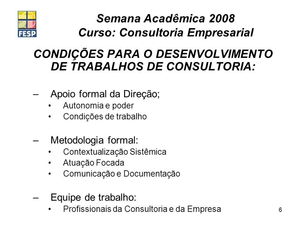 Semana Acadêmica 2008 Curso: Consultoria Empresarial 6 CONDIÇÕES PARA O DESENVOLVIMENTO DE TRABALHOS DE CONSULTORIA: –Apoio formal da Direção; Autonom