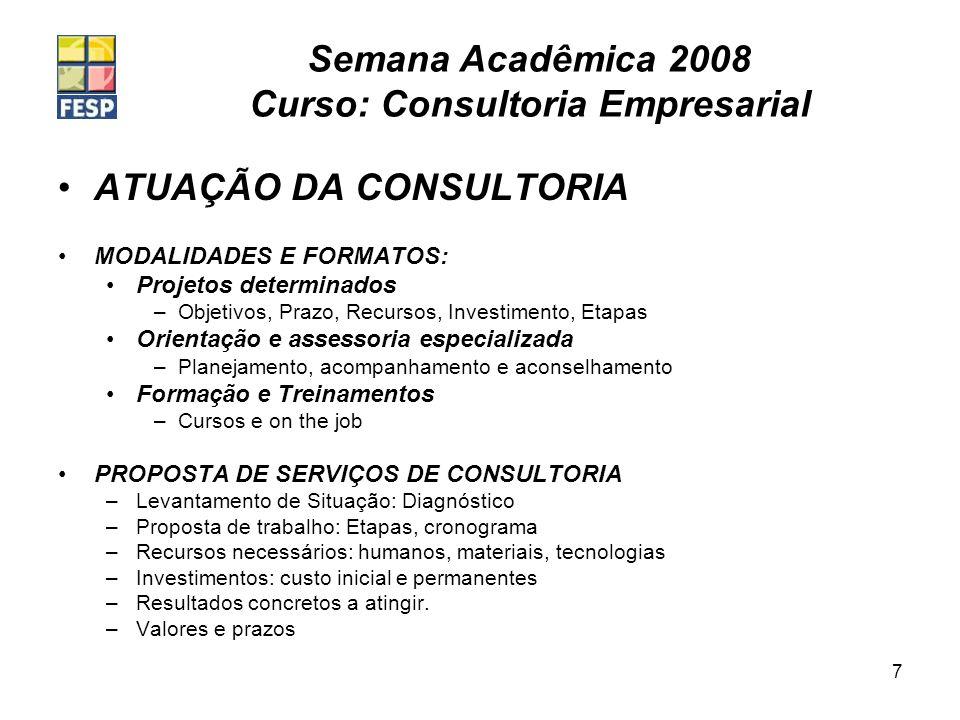 Semana Acadêmica 2008 Curso: Consultoria Empresarial 7 ATUAÇÃO DA CONSULTORIA MODALIDADES E FORMATOS: Projetos determinados –Objetivos, Prazo, Recurso