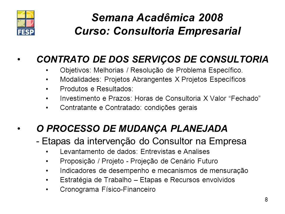 Semana Acadêmica 2008 Curso: Consultoria Empresarial 8 CONTRATO DE DOS SERVIÇOS DE CONSULTORIA Objetivos: Melhorias / Resolução de Problema Específico
