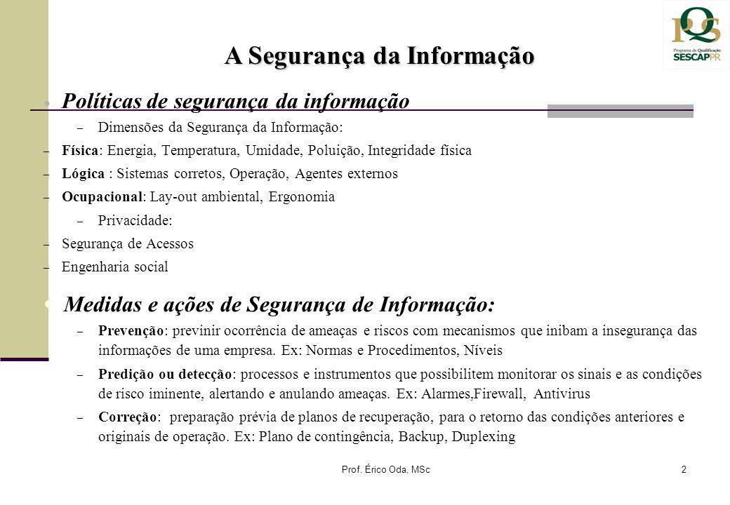 Políticas de segurança da informação – Dimensões da Segurança da Informação: – Física: Energia, Temperatura, Umidade, Poluição, Integridade física – L