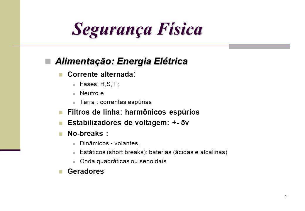 4 Segurança Física Alimentação: Energia Elétrica Alimentação: Energia Elétrica Corrente alternada : Fases: R,S,T ; Neutro e Terra : correntes espúrias