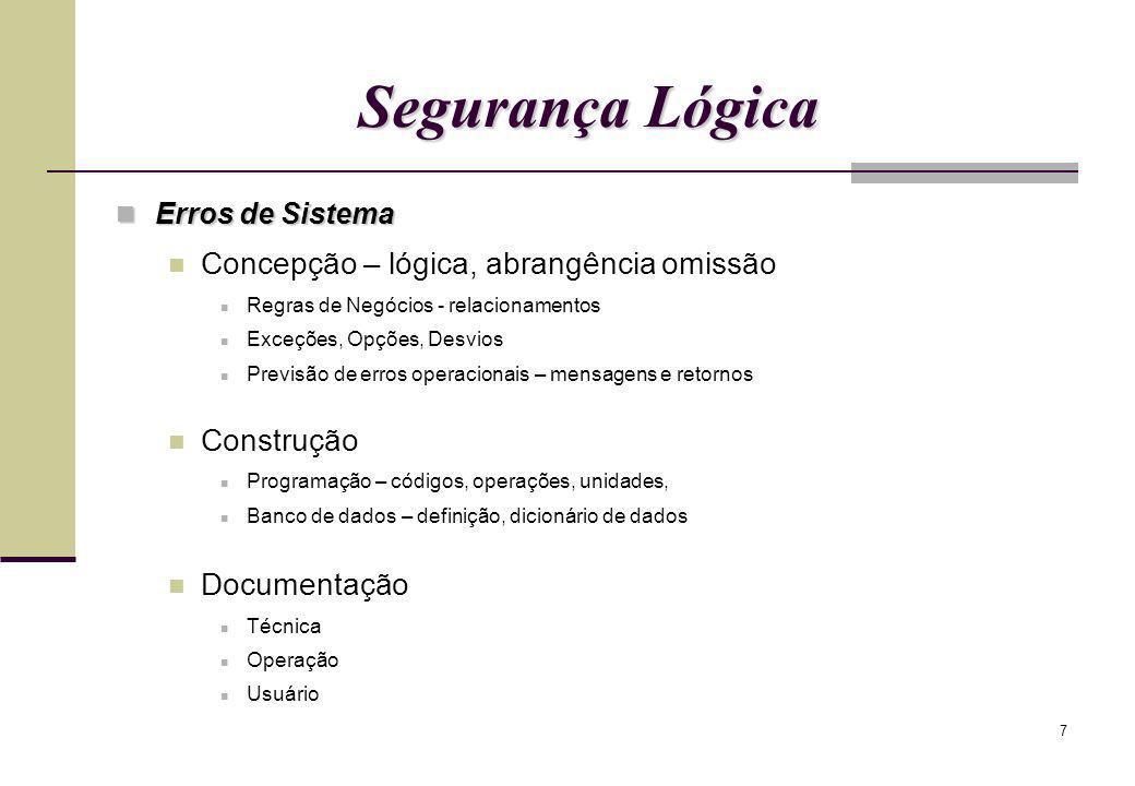 7 Segurança Lógica Erros de Sistema Erros de Sistema Concepção – lógica, abrangência omissão Regras de Negócios - relacionamentos Exceções, Opções, De