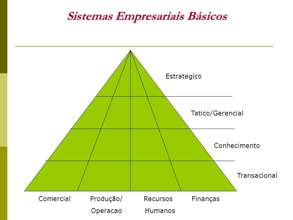 Comercial Marketing e Vendas Sistemas do Nível Estratégico Sistemas do Nível Estratégico Análises Comparativas de Regiões, Países, Divisões Previsões Economicas, Gestão de Resultados Acompanhamento da Concorrência Planejamento e Acompanhamento de Estratégias Sistemas do Nível Tático Sistemas do Nível Tático Retornos de Esforços de Marketing Gerenciamento de Vendas Formação de Preços Sistemas do Conhecimento Sistemas do Conhecimento CRM - Customers Relationship Management Data Warehouse Data Minning Lançamento de Novos Produtos Sistemas Transacionais Sistemas Transacionais Suporte a vendas, PDV, Faturamento E-Commerce, Telemarketing Informações de Crédito