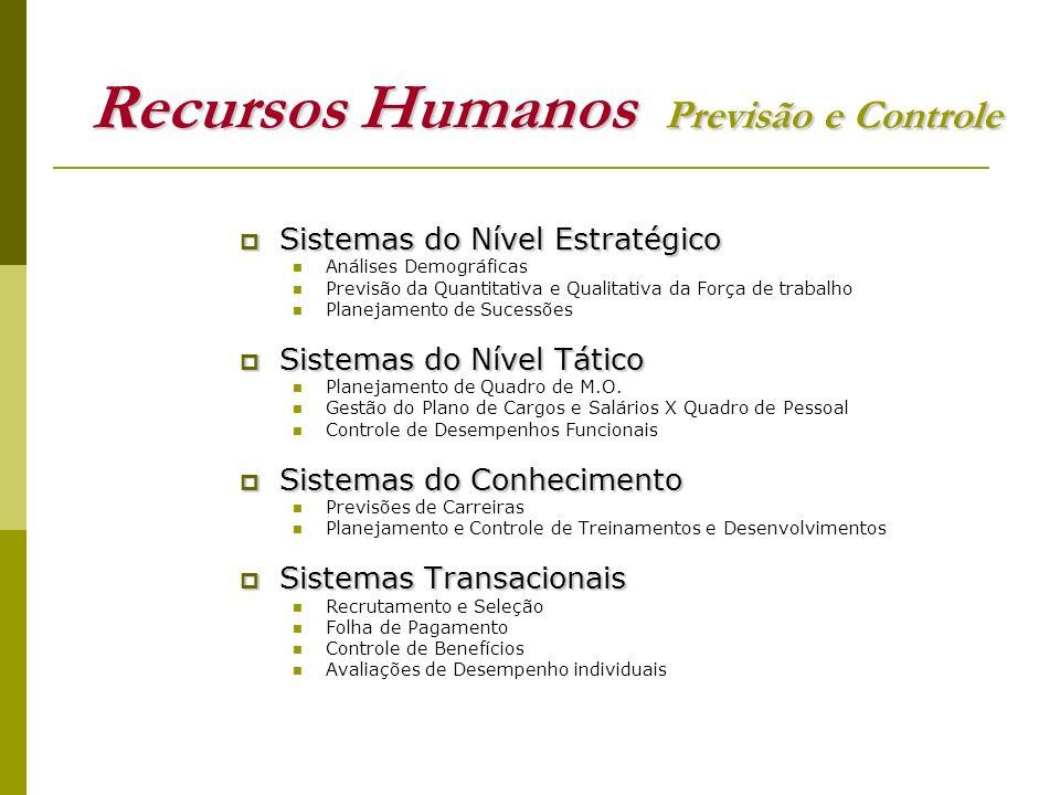 Recursos Humanos Previsão e Controle Sistemas do Nível Estratégico Sistemas do Nível Estratégico Análises Demográficas Previsão da Quantitativa e Qual