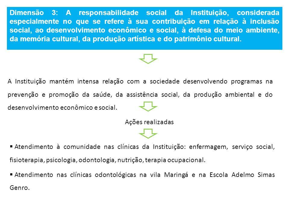 Dimensão 3: A responsabilidade social da Instituição, considerada especialmente no que se refere à sua contribuição em relação à inclusão social, ao d