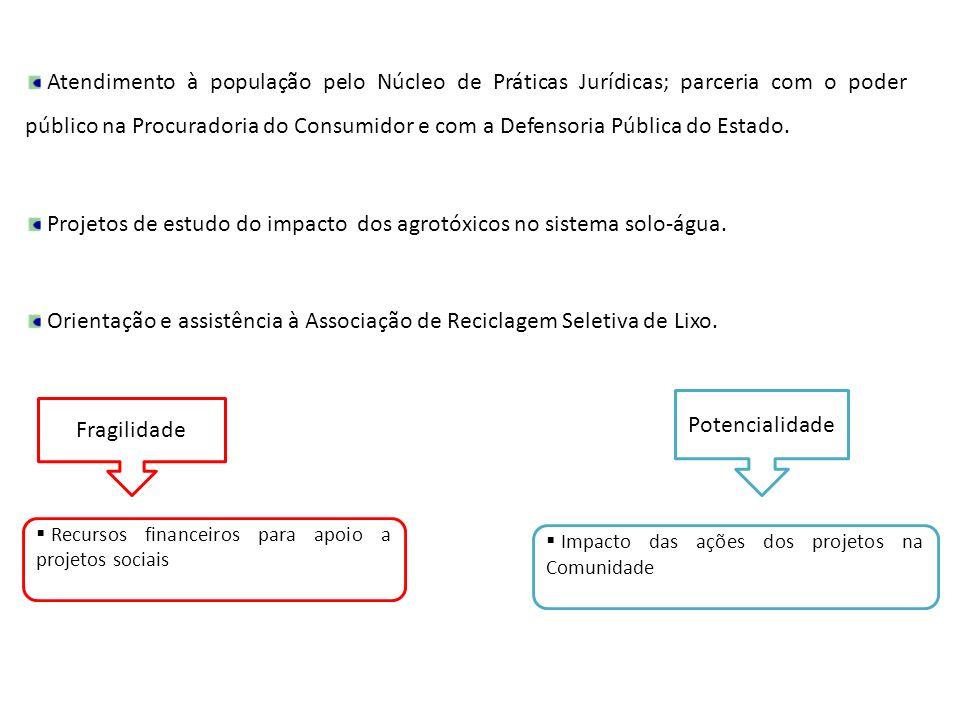 Atendimento à população pelo Núcleo de Práticas Jurídicas; parceria com o poder público na Procuradoria do Consumidor e com a Defensoria Pública do Es