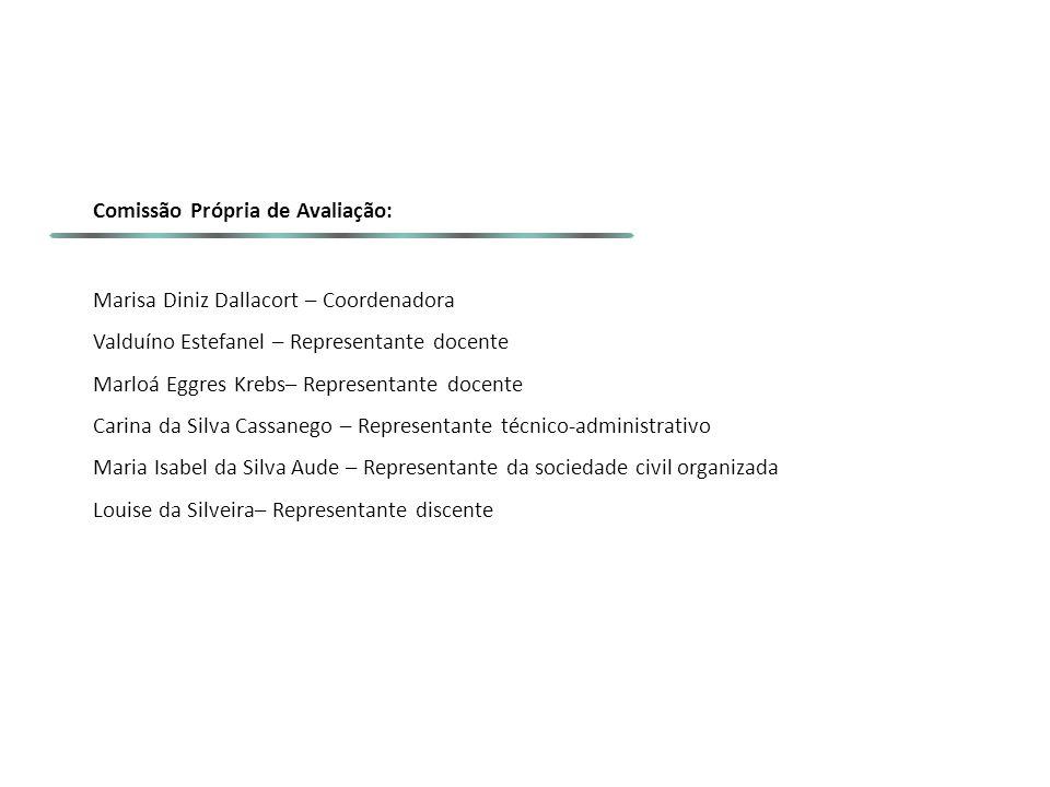 Comissão Própria de Avaliação: Marisa Diniz Dallacort – Coordenadora Valduíno Estefanel – Representante docente Marloá Eggres Krebs– Representante doc