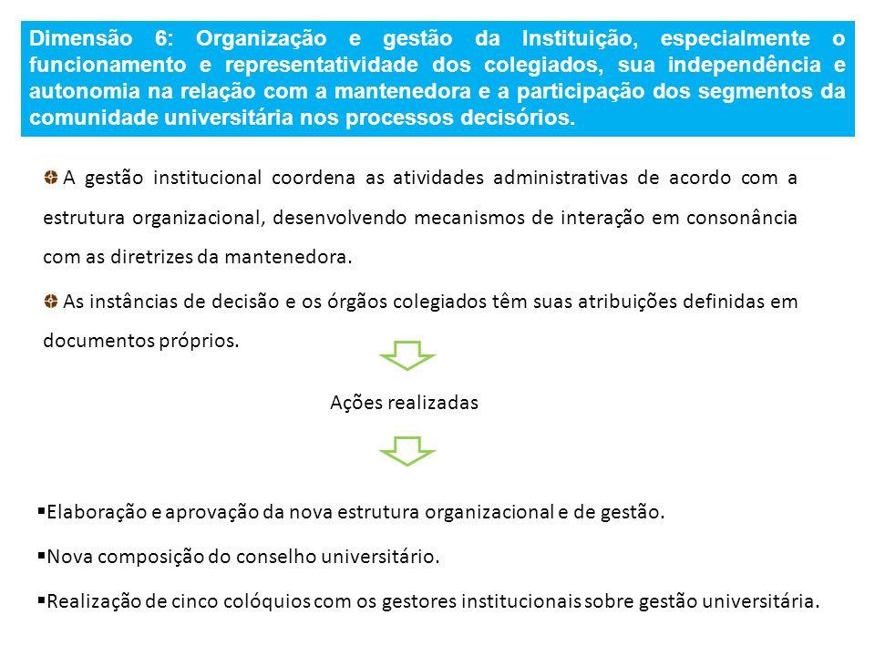 Dimensão 6: Organização e gestão da Instituição, especialmente o funcionamento e representatividade dos colegiados, sua independência e autonomia na r
