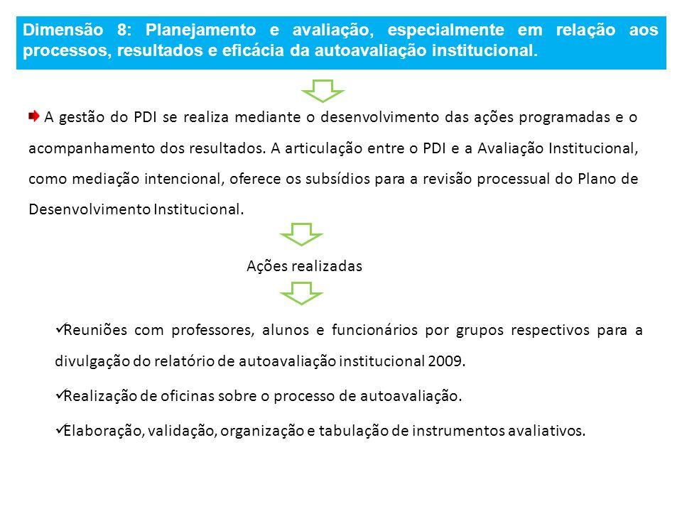 Dimensão 8: Planejamento e avaliação, especialmente em relação aos processos, resultados e eficácia da autoavaliação institucional. A gestão do PDI se