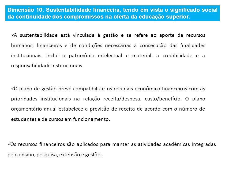 Dimensão 10: Sustentabilidade financeira, tendo em vista o significado social da continuidade dos compromissos na oferta da educação superior. A suste