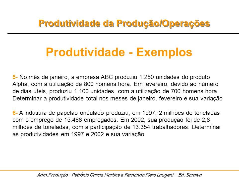 Adm.Produção - Petrônio Garcia Martins e Fernando Piero Laugeni – Ed. Saraiva Produtividade da Produção/Operações Produtividade - Exemplos 5- No mês d