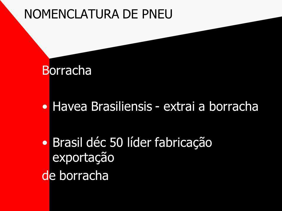 NOMENCLATURA DE PNEU Borracha Havea Brasiliensis - extrai a borracha Brasil déc 50 líder fabricação exportação de borracha