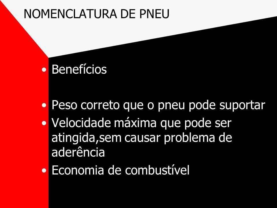 NOMENCLATURA DE PNEU Benefícios Peso correto que o pneu pode suportar Velocidade máxima que pode ser atingida,sem causar problema de aderência Economi