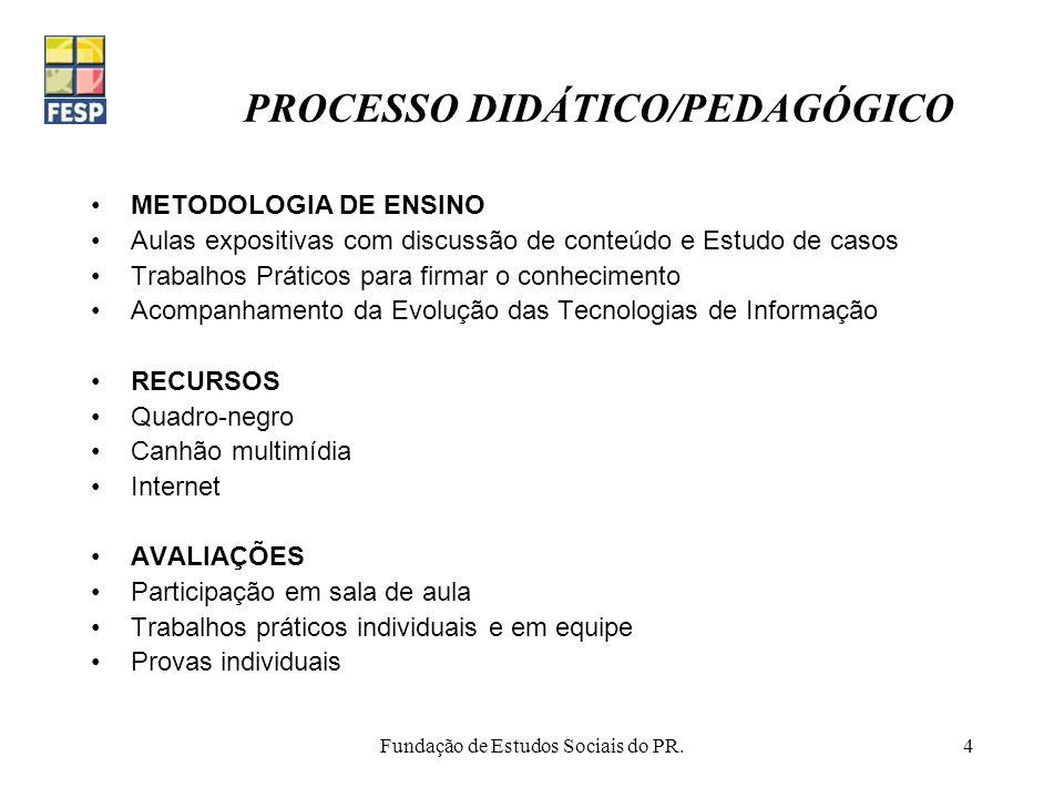 Fundação de Estudos Sociais do PR.4 PROCESSO DIDÁTICO/PEDAGÓGICO METODOLOGIA DE ENSINO Aulas expositivas com discussão de conteúdo e Estudo de casos T