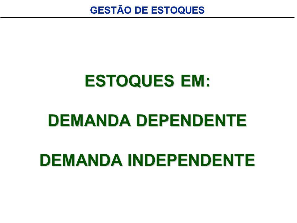GESTÃO DE ESTOQUES ESTOQUES EM: DEMANDA DEPENDENTE DEMANDA INDEPENDENTE