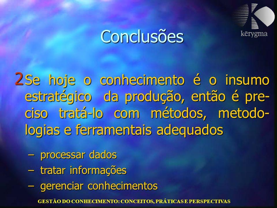 GESTÃO DO CONHECIMENTO: CONCEITOS, PRÁTICAS E PERSPECTIVAS Conclusões 2 Se hoje o conhecimento é o insumo estratégico da produção, então é pre- ciso t