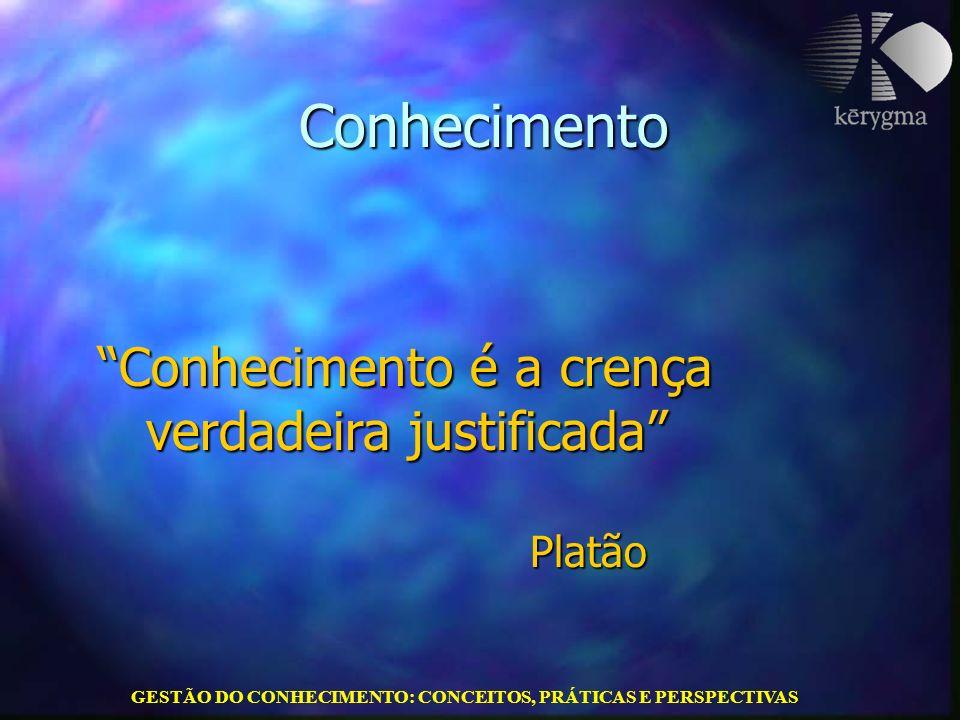 GESTÃO DO CONHECIMENTO: CONCEITOS, PRÁTICAS E PERSPECTIVAS Conhecimento Conhecimento é a crença verdadeira justificada Platão