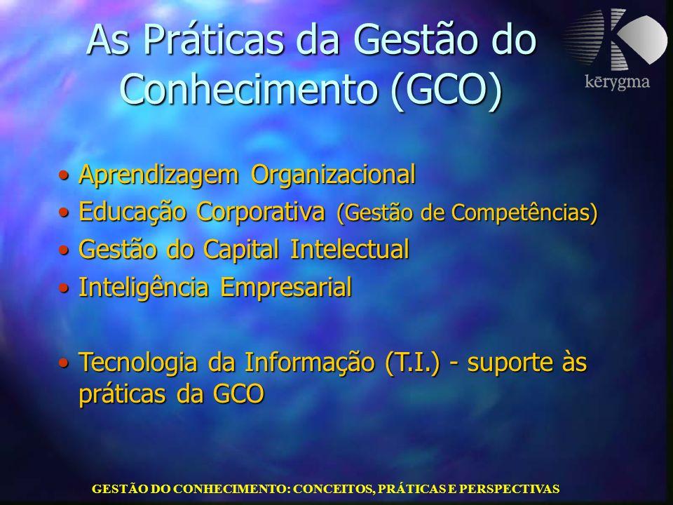 GESTÃO DO CONHECIMENTO: CONCEITOS, PRÁTICAS E PERSPECTIVAS As Práticas da Gestão do Conhecimento (GCO) Aprendizagem OrganizacionalAprendizagem Organiz