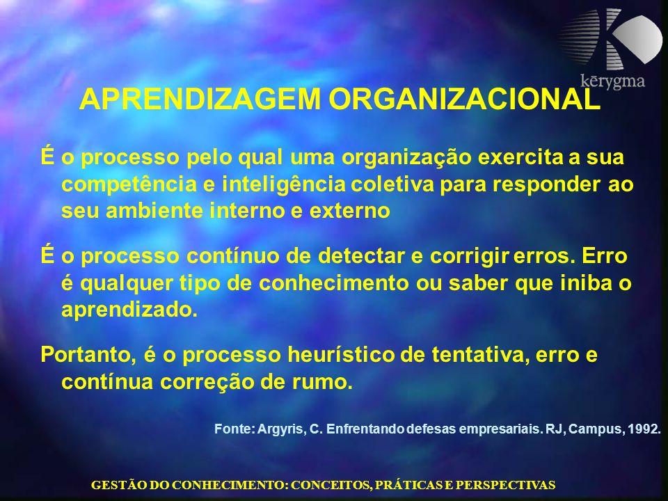 GESTÃO DO CONHECIMENTO: CONCEITOS, PRÁTICAS E PERSPECTIVAS APRENDIZAGEM ORGANIZACIONAL É o processo pelo qual uma organização exercita a sua competênc