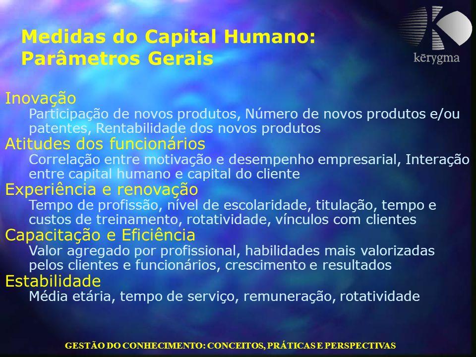 GESTÃO DO CONHECIMENTO: CONCEITOS, PRÁTICAS E PERSPECTIVAS Medidas do Capital Humano: Parâmetros Gerais Inovação Participação de novos produtos, Númer