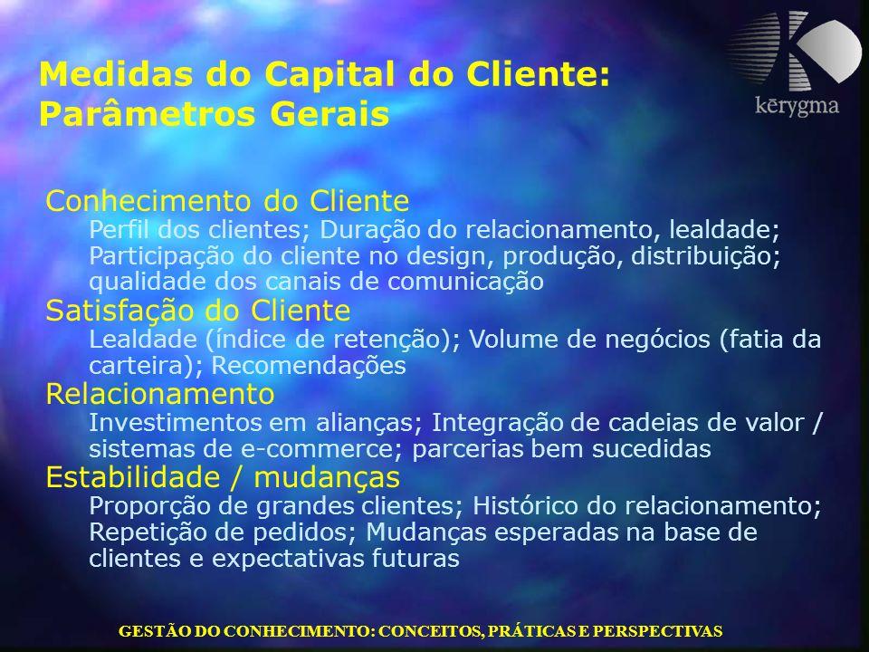 GESTÃO DO CONHECIMENTO: CONCEITOS, PRÁTICAS E PERSPECTIVAS Medidas do Capital do Cliente: Parâmetros Gerais Conhecimento do Cliente Perfil dos cliente