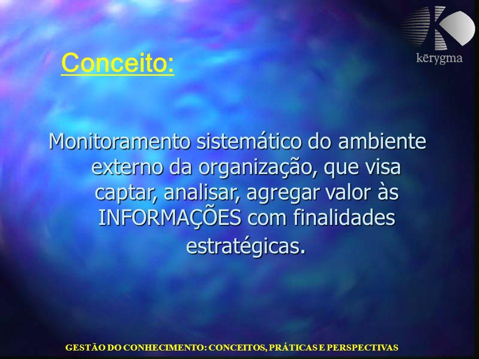 GESTÃO DO CONHECIMENTO: CONCEITOS, PRÁTICAS E PERSPECTIVAS Monitoramento sistemático do ambiente externo da organização, que visa captar, analisar, ag
