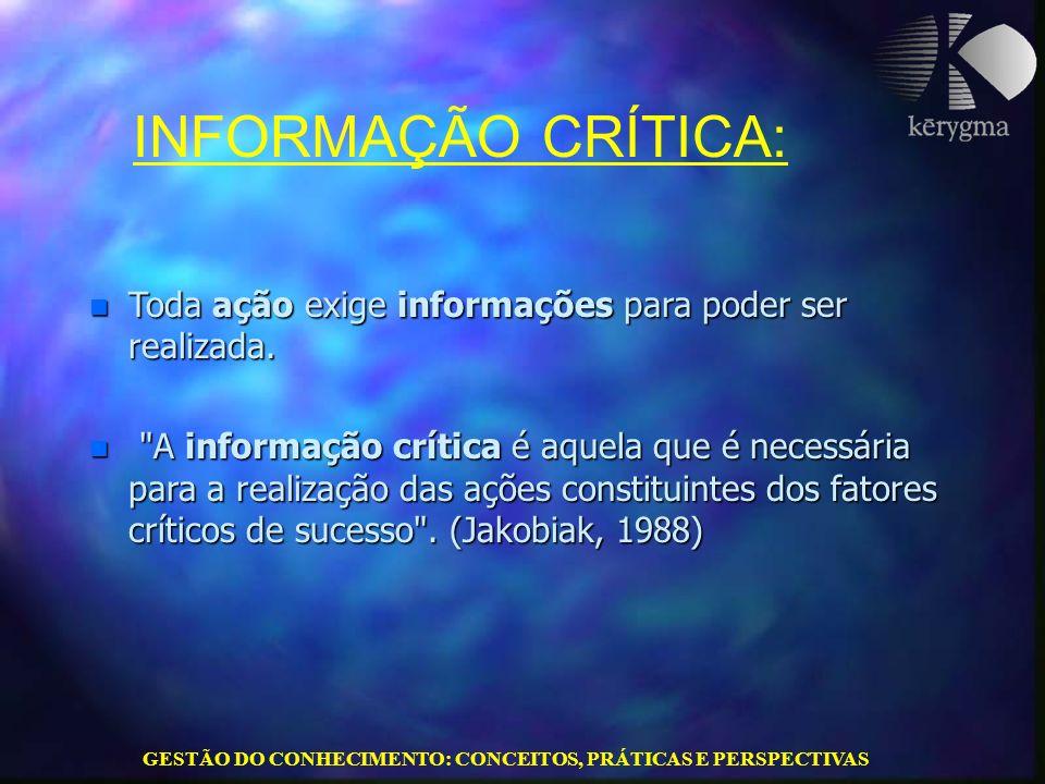 GESTÃO DO CONHECIMENTO: CONCEITOS, PRÁTICAS E PERSPECTIVAS n Toda ação exige informações para poder ser realizada. n