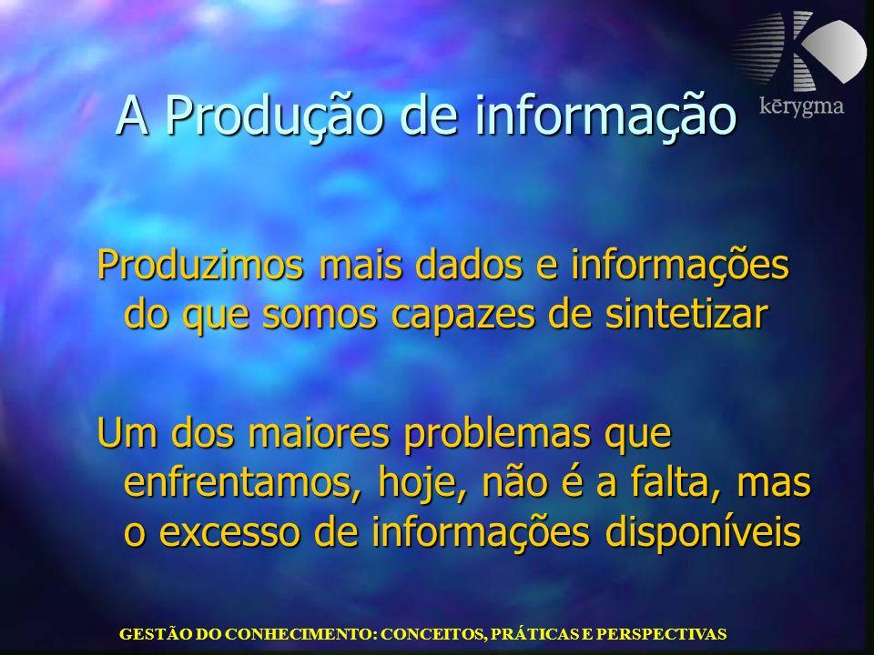 GESTÃO DO CONHECIMENTO: CONCEITOS, PRÁTICAS E PERSPECTIVAS A Produção de informação Produzimos mais dados e informações do que somos capazes de sintet