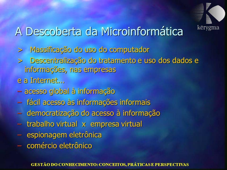 GESTÃO DO CONHECIMENTO: CONCEITOS, PRÁTICAS E PERSPECTIVAS A Descoberta da Microinformática A Descoberta da Microinformática > Massificação do uso do