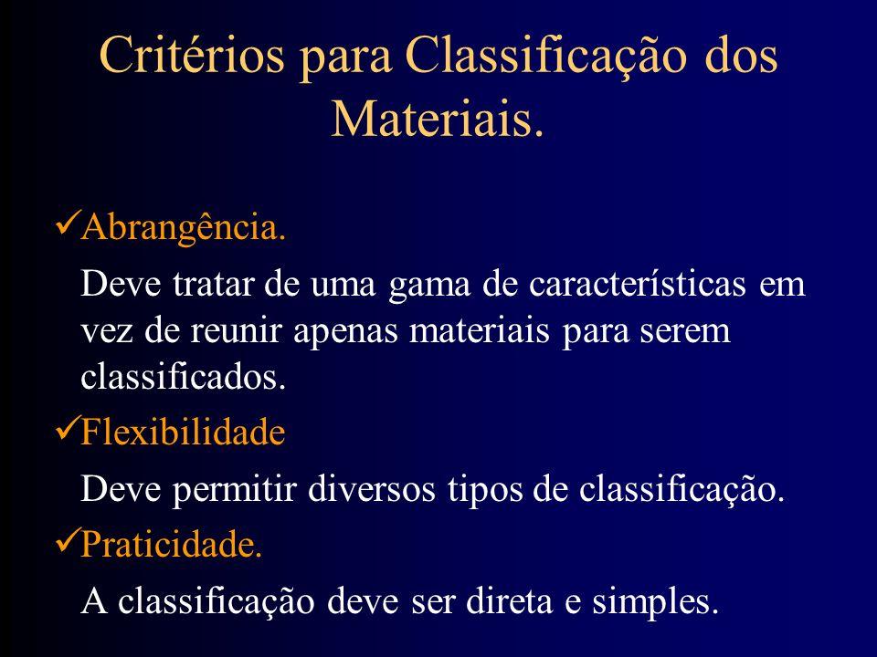 Critérios para Classificação dos Materiais. Abrangência. Deve tratar de uma gama de características em vez de reunir apenas materiais para serem class