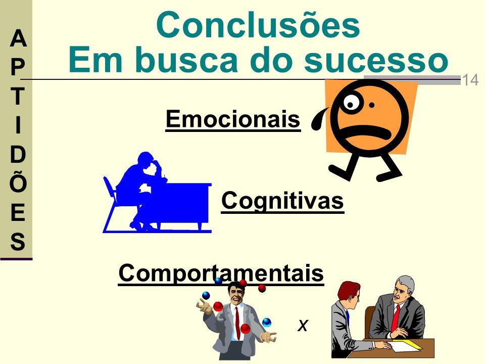 Conclusões Em busca do sucesso Emocionais 14 Cognitivas Comportamentais x APTIDÕESAPTIDÕES
